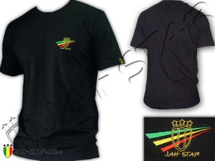 Tee Shirt Rasta Jah Star Wear Logo Brodé Noir TS103B