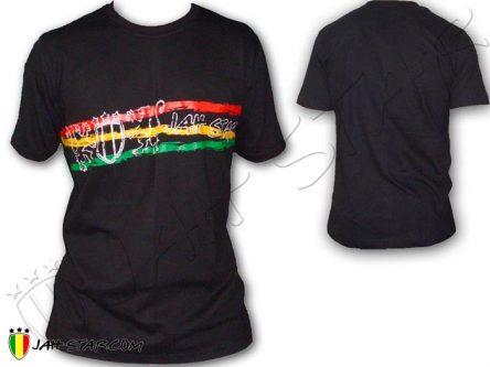 Tee Shirt Rasta Reggae Lion of Judah Brodé Jah Star Bob Marley Noir TS100B