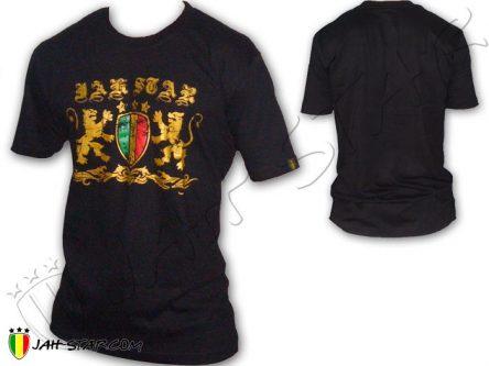 Tee Shirt Rasta Kleidung ropa camiseta Jah Star Logo Rastafari Black TS344B