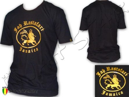 Tee Shirt ropa vestiti Vetement Rasta Roots Jah Star Rastafari Jamaica Black TS290B