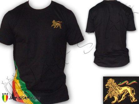 Tee Shirt roupas Rasta Wear Reggae Roots Jah Star Lion Of Judah Black TS110B