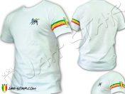 Tee Shirt Rasta Jah Star Lion Of Judah Brodé 3 Bandes Manche TS114W