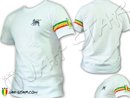 T-Shirt Rasta Wear Jah Star Lion Of Judah Bordado 3 Raya Manga Blanco TS114W