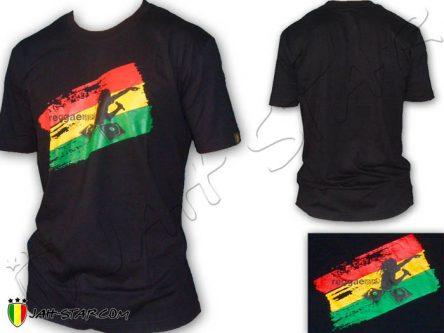 Tee Shirt Rasta Reggae DJ Sound System Jamaicain Jamaique Noir TS338B