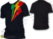 Tee Shirt Rasta Wear Reggae Jah Star Africa éclaire noir TS113B