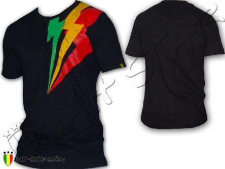 Tee Shirt Rasta ropa maglietta Wear Reggae Roots Jah Star Lightning Black TS113B