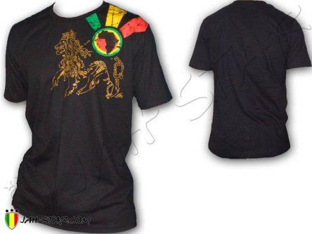 Tee Shirt Rasta vestiti Vetement maglietta Jah Star Africa Lion Of Judah Black TS123B