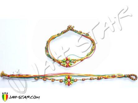 Bracelet Cheville Coton Ciré Rasta A130