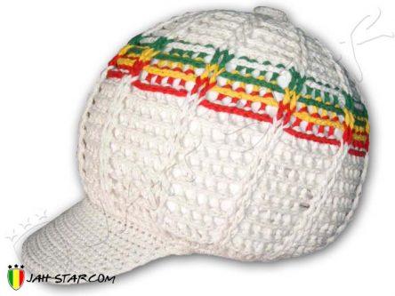 bonnet beanie gorro mutze cappello roots rasta Rastafari dreadlocks bob Marley White H110R