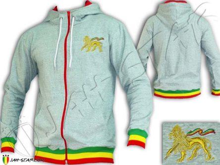 Chaqueta Capucha Gris Rasta Reggae Lion Color dorado JA900