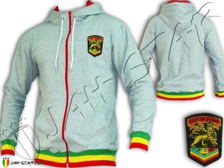 Veste a Capuche Reggae Rasta Grise a zip rouge, logo Jah Star JA908
