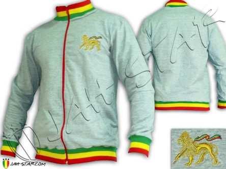 Veste Grise Reggae a Col Rasta Lion Of Judah couleur Or JA800
