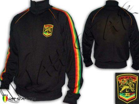 Veste Reggae Conquering Lion of Judah Rastafari Logo Brodé Noir JB108B